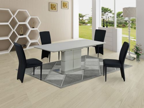 GA Porcelanosa  Cream Dining Table & Black 4, 6, 8 and 10 Chairs